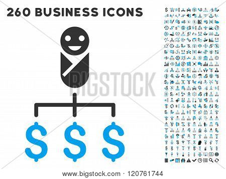 Kid Expenses Icon with Flat Glyph Set