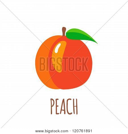 Peach Icon In Flat Style On White Background