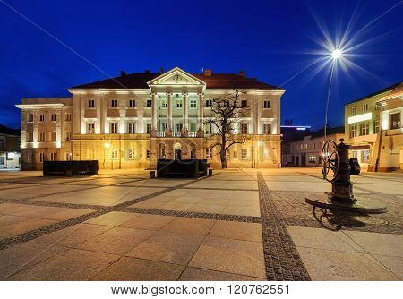 Main Square Rynek And City Hall Of Kielce, After Sunset.