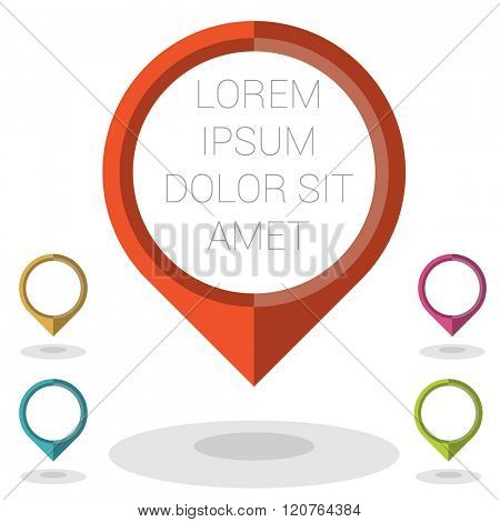 Location icon with mock up.Vector flat design UI element set.