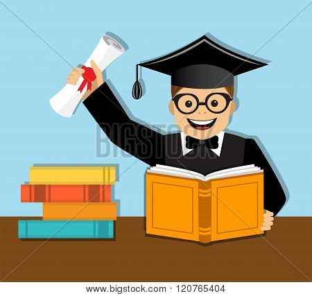 Happy graduate with diploma