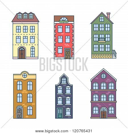 Residential houses icons in trending flat style with lines. Vector set of houses in the Dutch style