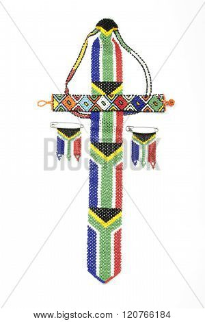 Bright Zulu Beads Threaded In South African Flag Colors