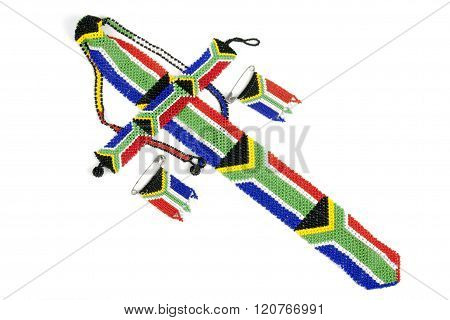 Zulu Threaded Beadwork Depicting The South African Flag