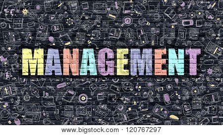Management in Multicolor. Doodle Design.