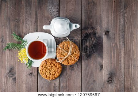 Top View Of Tea Cup With Sweet Cookie