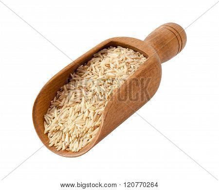 Brown Basmati Wild Rice In A Wooden Scoop