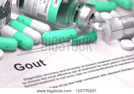 Diagnosis - Gout. Medical Concept with Blurred Background.