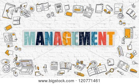 Management Concept with Doodle Design Icons.