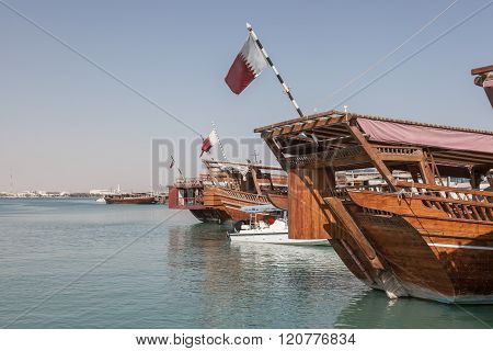 Traditional Dhows In Doha, Qatar