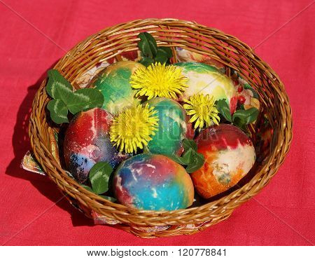 etude Easter red green eggs and decoration