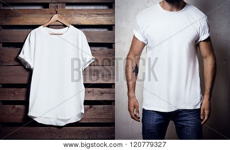Photo of white tshirt hanging on wood background and bearded man wearing clear Tshirt. Vertical blan