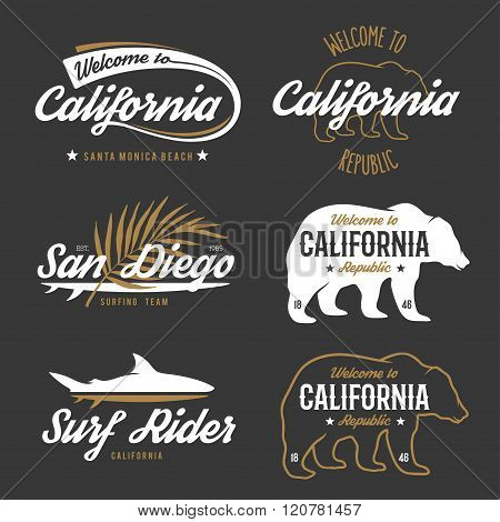Vector vintage monochrome California badges.