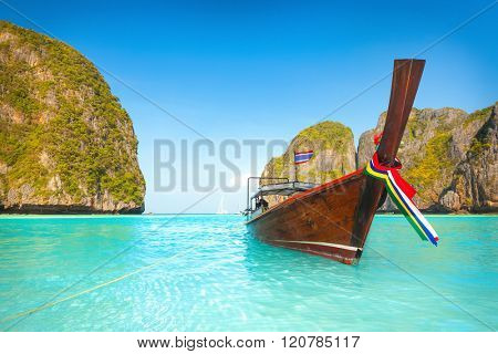 Maya bay at sunrise time. Phi phi island