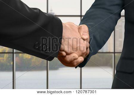 Men shaking hands inside office.