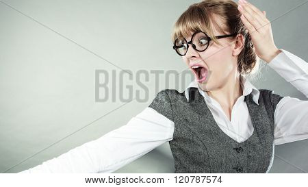 Business Woman With Fear Expression