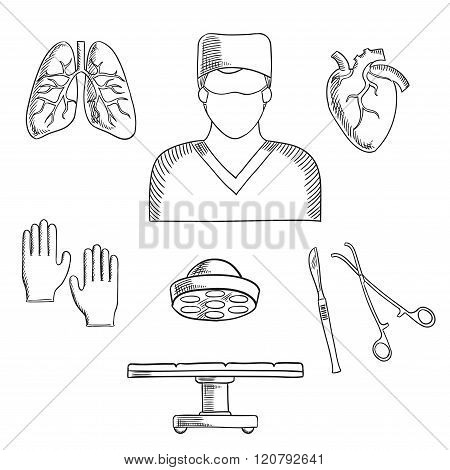 Surgeon profession objects and icons