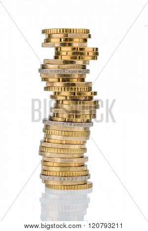 stack of money coins in front of a white background