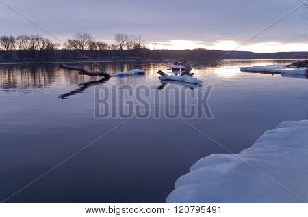 Mississippi River Daybreak In Winter