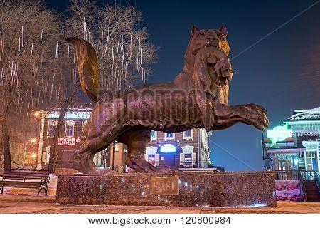 Irkutsk, Russia - February 16,2016: Babr In His Teeth Holding Sable - A Monument Symbol Of Irkutsk.