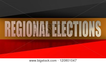 Regional elections text on germany flag background
