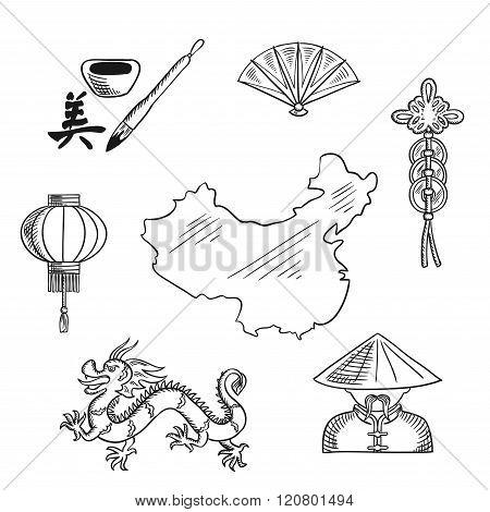 Chinese national symbols around a map