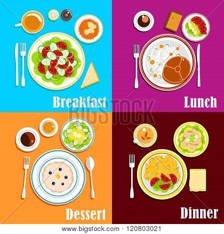 European breakfast, dinner and lunch