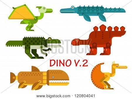 Ancient dinosaurs and reptiles flat icons