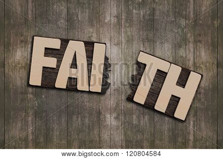 Faith Word With Broken Board