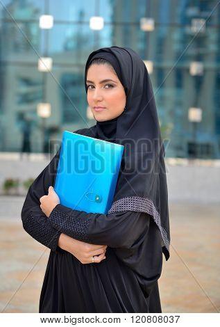 Emarati Arab Business Woman Outside The Office