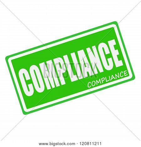an images of COMPLIANCE white stamp text on green