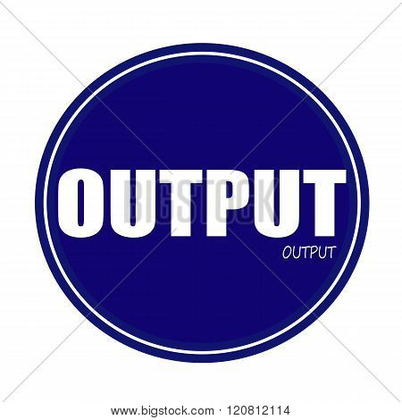 an images of OUTPUT white stamp text on blue