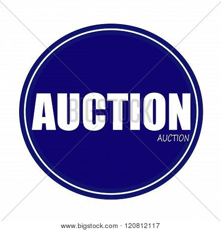 an images of AUCTION white stamp text on blue