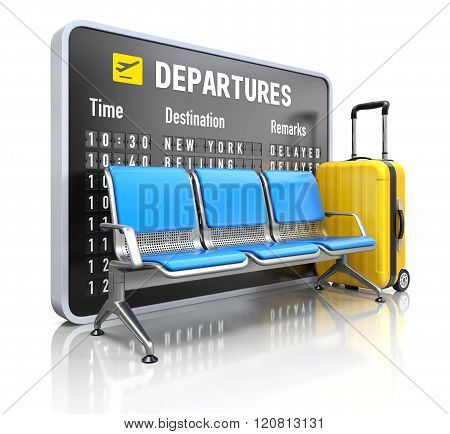 Departure board with airport seating