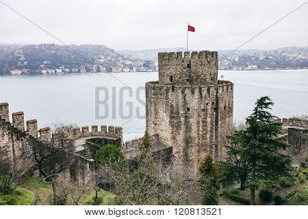ISTANBUL, TURKEY - MARCH 20, 2011: Roumeli Hissar Castle fortress in European part of Istanbul, Turkey