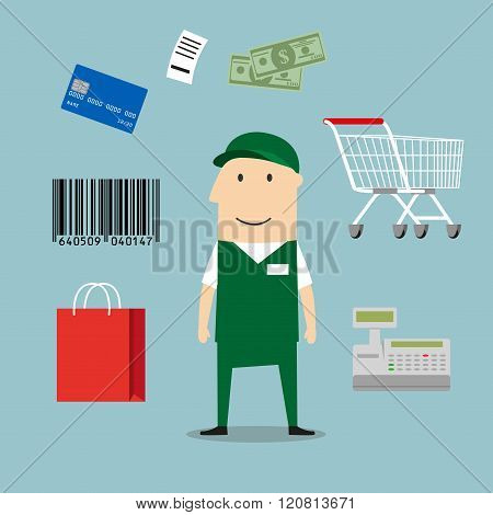 Seller profession and retail icons including a bag, till or cash register, credit card payment, bar code and bag of groceries around a shop seller poster