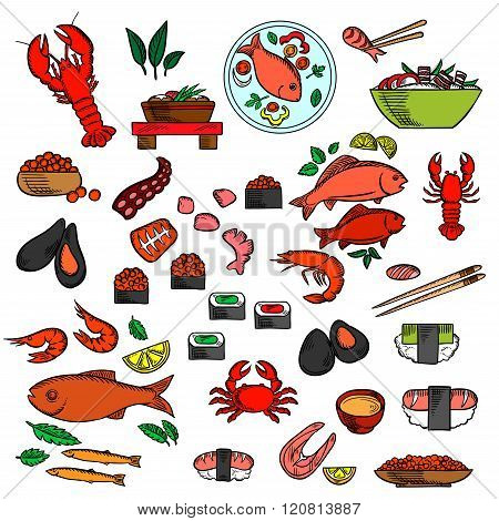 Seafood, fish and delicatessen icons