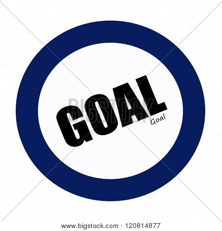 an images of GOAL black stamp text on blueblack
