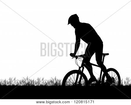 Silhouette of a cyclist on a mountain bike