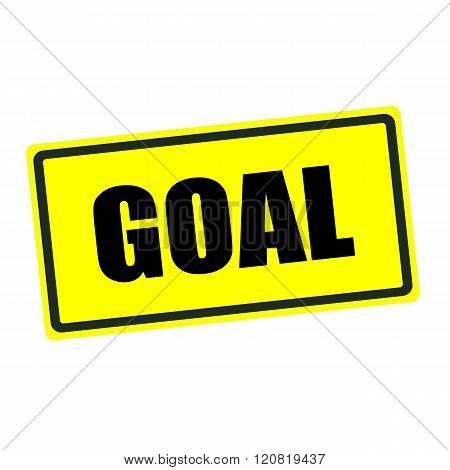 GOAL back stamp text on yellow background