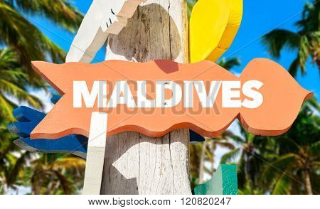 Maldives direction sign with palm trees