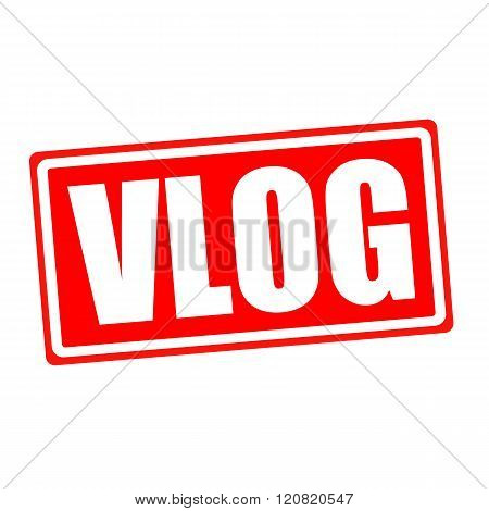 Vlog white stamp text on red backgroud
