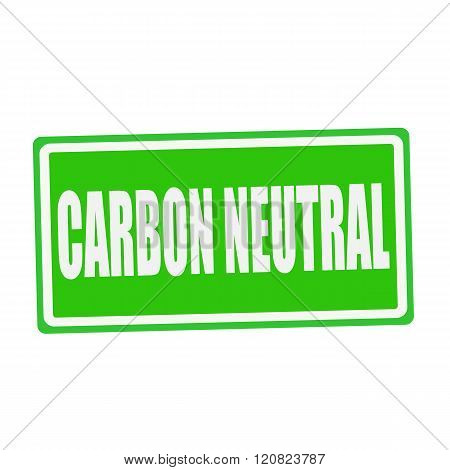 CARBON NEUTRAL white stamp text on green