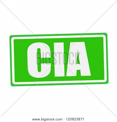 an images of CIA white stamp text on green