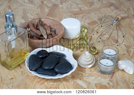 Bath Spa Massage Kit Isolated Over Wooden Background