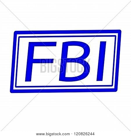 FBI blue stamp text on white background