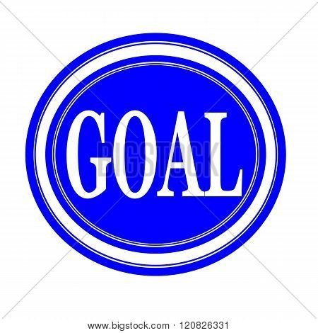 an images of GOAL white stamp text on blue