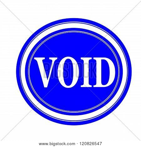 an images of Void white stamp text on blue