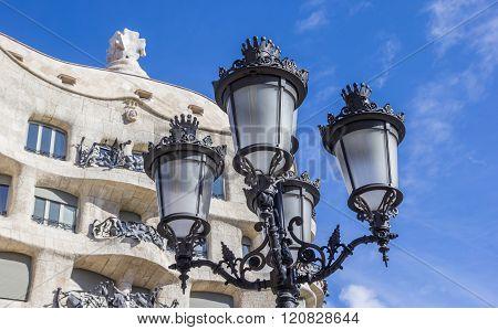 Lantern In Front Of Casa Mila In Barcelona