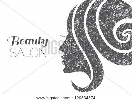Illustration Of Woman With Beautiful Hair.